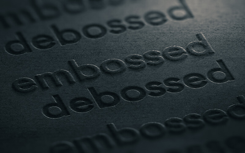 Embossed Business Card Close Up